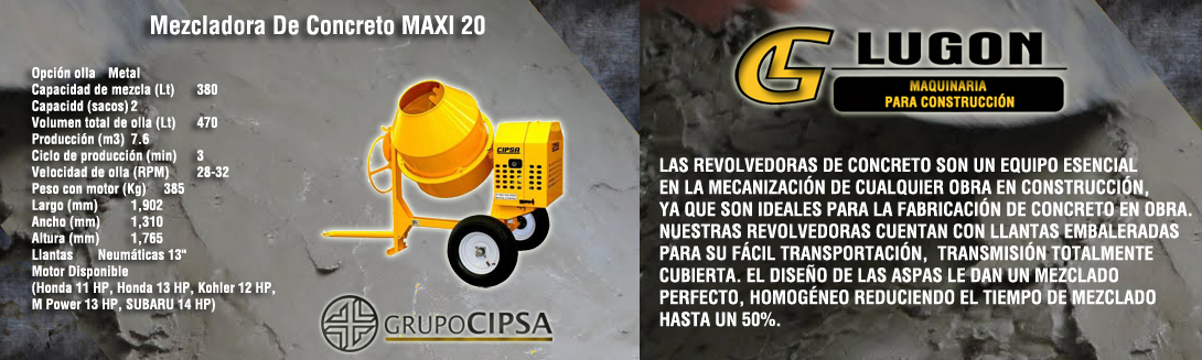 Mezcladora De Concreto MAXI 20
