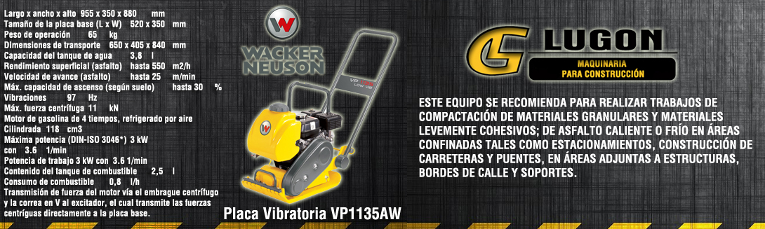 placa vibratoria wacker vp1135aw