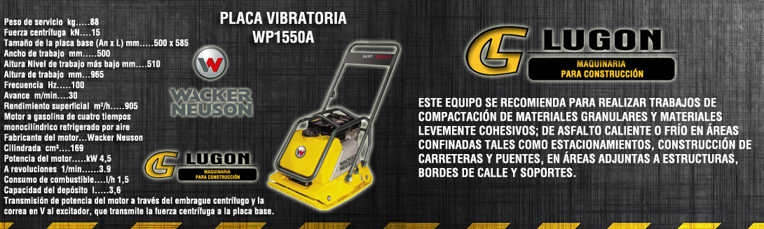 placa vibratoria wacker wp1550a